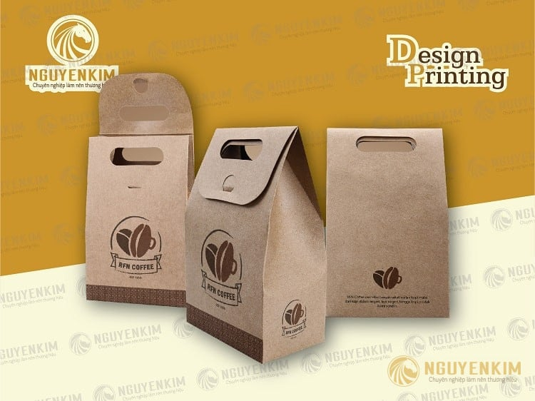 In túi giấy Kraft đựng cà phê